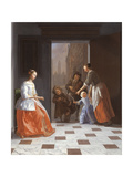 Street Musicians at the Door, 1665 Giclee Print by Jacob Ochtervelt