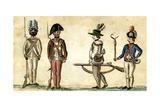 Soldiers in Uniform, 1781-84 Giclee Print by Jean Baptiste Antoine de Verger