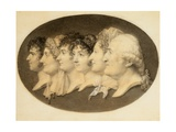 Profile Portrait of Augustin and His Family Giclee Print by Jean-Baptiste-Jacques Augustin