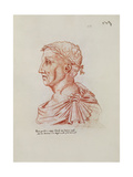 Ms.266 Fol.271 V Petrarch (1304-74), from 'Recueil D'Arras' (Red Chalk on Paper) Giclee Print by Jacques Le Boucq