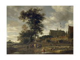 Scene before a Maypole with Alkmaar Church in the Background, 1669 Giclee Print by Jacob Salomonsz. Ruysdael