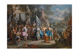 The Amazon Queen, Thalestris, in the Camp of Alexander the Great Giclee Print by Johann Georg Platzer