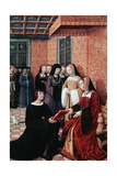 The Poet Jean Marot (1450-1526) Handing over His Work Voyage to Genoa to Anne of Brittany (1477-151 Giclee Print by Jean Bourdichon