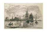 Setting Sun, the Port of Antwerp, 1868 Giclee Print by Johan-Barthold Jongkind