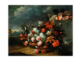 Basket of Flowers Giclee Print by Jean-Baptiste Monnoyer
