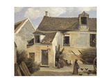 Courtyard of a Bakery Near Paris, or Courtyard of a House Near Paris, C.1865-70 Giclee Print by Jean Baptiste Camille Corot
