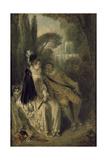 Le Repos Gracieux, C.1713 Giclée-tryk af Jean Antoine Watteau