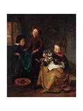 The Cat's Medicine Giclee Print by Jan Havicksz. Steen