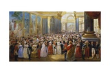 Opening of Gallery of Battles by King Louis Philippe at Museum of Palace of Versailles, June 1837 Giclee Print by Jean Auguste Bard