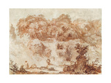 Gardens of the Villa D'Este, from the Foot of the Waterfall (Red Chalk on Paper) Reproduction procédé giclée par Jean-Honore Fragonard