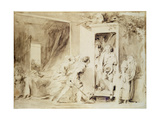 The Surprised Lover, 1755 (Brown Pencil over Chalk Preliminary Drawing) Impression giclée par Jean-Honore Fragonard