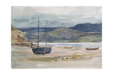 Hilly Coast Scene with Boats, 19th Century Giclee Print by John Absolon
