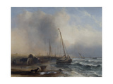 Seascape with Boats and Figures Giclee Print by Jock Wilson