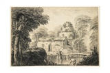 Landscape with a Cottage and Peasants, C. 1770 Giclee Print by Jean Baptiste Pillement