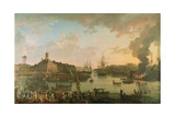 View of the Port of Brest from the Covered Docks in 1795, 1795 Giclee Print by Jean-Francois Hue