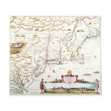 Map of New Belgium with a View of New Amsterdam Giclee Print by Joannes Jansson