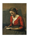 Girl Reading Giclee Print by Jean-Baptiste-Camille Corot