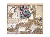 Map of the Christmas Flood of 1717, 1720 Giclee Print by Johann Baptista Homann