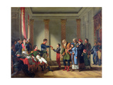 Napoleon Bonaparte (1769-1821) Giving a Pension of a Hundred Napoleons to the Pole Giclee Print by Jean-Charles Tardieu