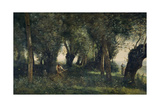 A Man Scything by a Willow Grove, Artois, C.1855-60 Giclee Print by Jean Baptiste Camille Corot