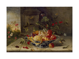 Decorative Still-Life Composition with a Porcelain Bowl, Fruit and Insects Giclee Print by Jan van Kessel the Elder