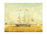 The Johan Melchior Kemper at Anchor by Rotterdam Harbour (Pencil, Pen and Ink and W/C on Paper) Giclee Print by Jacob Spin