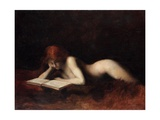 Reclining Nude Woman Reading a Book Giclee Print by Jean-Jacques Henner