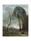 Peasant Woman Collecting Wood, Italy, C. 1870-2 Giclee Print by Jean Baptiste Camille Corot