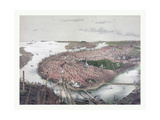 Boston Bird's Eye View from the North, Circa 1877, USA, America Giclee Print by John Bachmann