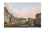 View of the Seine from Beneath an Arch of Pont Notre-Dame, 1805 (Coloured Aquatint) Giclee Print by John Claude Nattes