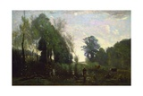 Misty Morning, C.1865 Giclee Print by Jean Baptiste Camille Corot