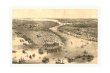 Bird's Eye View of New York and Brooklyn, Circa 1851, USA, America Giclee Print by John Bachmann