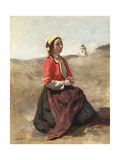 The Breton in Prayer Giclee Print by Jean Baptiste Camille Corot