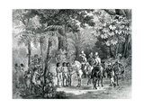 Meeting of the Indians with the European Explorers from 'Picturesque Voyage to Brazil', 1827-35 Giclee Print by Johann Moritz Rugendas