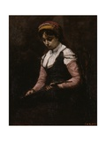 Girl with Mandolin, 1860-65 Giclee Print by Jean Baptiste Camille Corot