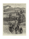 Following the Hounds by Train, a Scene in New Zealand Giclee Print by John Charlton