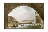 Panorama of the River Seine Seen from Beneath the Pont Neuf Looking West Towards the Louvre Giclee Print by John Claude Nattes
