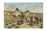 Sioux Encampment, Porcupine, 1910 Giclee Print by John Hauser