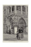 The Doge's Palace, Venice, Angle Decorative Sculpture, The Judgement of Solomon Giclee Print by John Fulleylove
