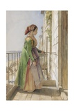 A Greek Girl Standing on a Balcony, C.1840 (W/C and Gouache over Graphite on Paper) Giclee Print by John Frederick Lewis