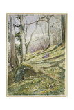 Wooded Slope with Four Figures Giclee Print by John William Inchbold