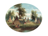 Assiniboin Camp Giclee Print by John Mix Stanley