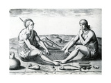 Their Sitting at Meat, 1590 Giclee Print by John White