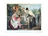 Le Marche Aux Fleurs, Published by Rodwell and Martin, 1820 Giclee Print by John James Chalon