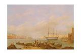 H.M.S. Brunswick at Anchor in Grand Harbour, Valletta, Malta Stampa giclée di John Schranz