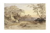 Landscape with Figures and Distant Castle Giclee Print by John Varley