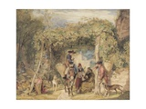 Figures and Animals in a Vineyard, C.1829 (W/C, Gouache and Graphite on Paper) Giclee Print by John Frederick Lewis