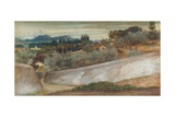 A Tuscan Landscape with Village and Olive Grove (Pencil, W/C and Bodycolour on Paper) Giclee Print by John Roddam Spencer Stanhope