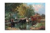 Crossing the Stream Giclee Print by John Frederick Herring Jnr