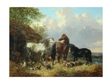 Three Horses with Pigs Giclee Print by John Frederick Herring Jnr